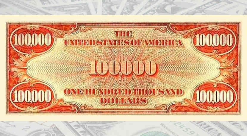 Die 100 000 Dollar Banknote Der Usa